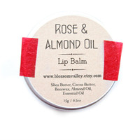 Rose & Almond Oil Lip Balm - Handmade, Natural lip balm, Sugar free, Lip Balm tin