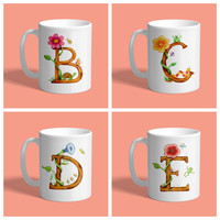 Custom Coffee Mug - Letter A,B,C,D,E, personalized teacher gift, custom gift, coffee cup, tea cup, alphabet mug, friendship gift