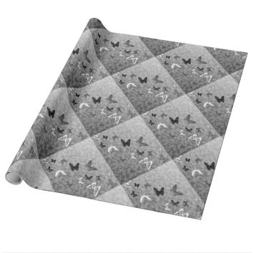 Black n White Butterflies Wrapping Paper