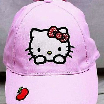 Sanrio Hello Kitty with Apple Embroidered Adjustable Baseball Cap/Hat-New!