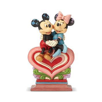 Disney Traditions Mickey Minnie Sitting on Heart Jim Shore Figurine New with Box