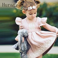 Princess Girl Dress Patchwork Baby Girls Cotton Clothing Summer Pink Dress