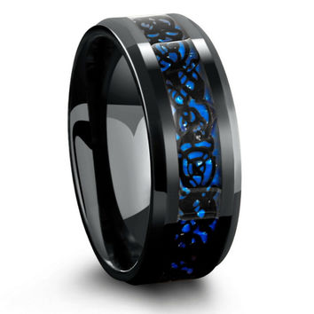8mm Black Celtic Tungsten Wedding Band With Blue Carbon Fiber Inlay