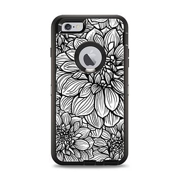 The White and Black Flower Illustration Apple iPhone 6 Plus Otterbox Defender Case Skin Set