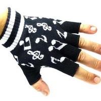 Music Notes Black and White Knitted Fingerless Gloves
