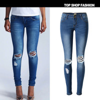 Autumn Slim Pencil Pants Stretch Jeans Ripped Holes Skinny Pants [6365924292]
