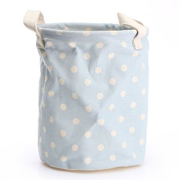 Small Laundry Basket 17*22cm Storage Bag With Handles Cotton Linen Bucket Foldable Washing Clothes Waterproof Tidy Organization