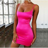 Women Stretch Mini Satin Sexy Straps Slim Fit Bodycon Party Dress Neon Green Pink Dress Summer Dresses Dual layer