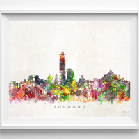 Bologna Skyline Print, Italy Print, Bologna Poster, Italy Cityscape, Wall Art, City Skyline, Watercolor Painting, Christmas Gift