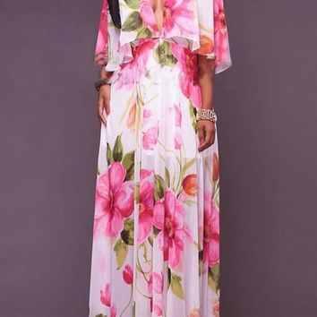 White Flowers Print Ruffle Draped Cleavage Cloak Bohemian Chiffon Maxi Dress