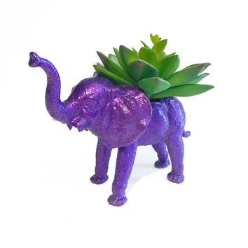Up-cycled Glittery Purple Elephant Planter
