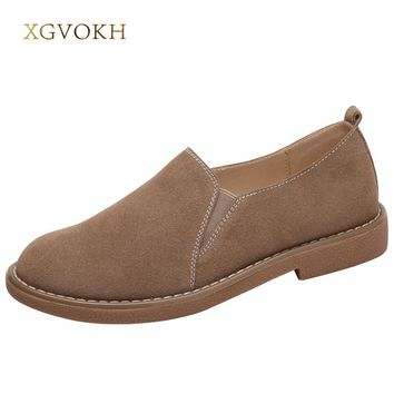 XGVOKH Loafers & Slip-Ons Shoes Women casual Leather Shoes Round Toe Spring Autumn Solid Flat Black Brown Khaki Moccasins