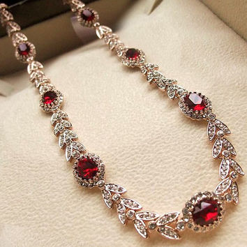 Swarovski Crystal Bridal Necklace Austrian Made Alloy Red Crystal Earring Set-Style Stud