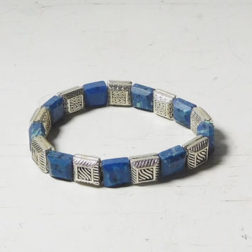 Blue Bracelet Cuff Elastic Hippie Boho Style Bohemian Southwest Jewelry 7 Inches Unstretched Square Plastic Beads Lapis Look