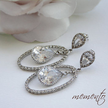Anabel Silver Pleated Cubic Zirconia Earrings by by MyMEMENTO