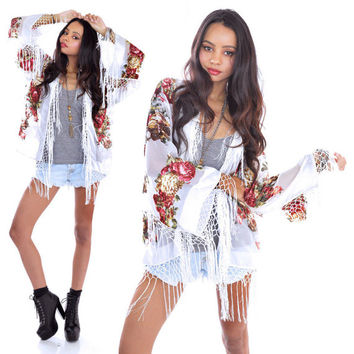 Silk Burnout Velvet Fringe White Wedding Hippie Gypsy Festival Kimono Jacket