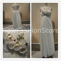 A Line One Shoulder Sleeveless Beading Floor Length Prom Evening Dress