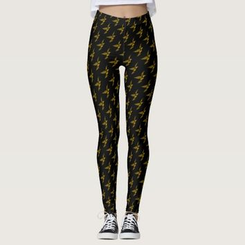 Cute black vintage gold eagle patterns leggings