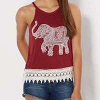 Burgundy Crochet Elephant Tank Top | Graphic Tanks | rue21