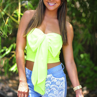 Pretty Present Crop Top: Neon Green | Hope's