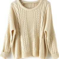 Apricot Batwing Long Sleeve Pullovers Sweater -SheIn(Sheinside)