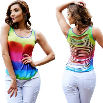 Fashionable printing back cut the vest