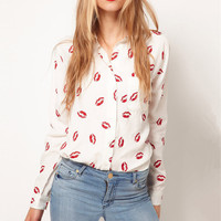 Red Lip Kiss Print Chiffon Long Sleeve Blouse