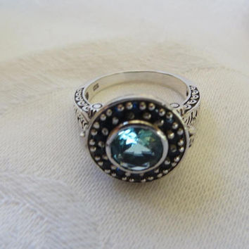 Vintage Aquamarine Poison Ring, Sterling Silver Filigree. Blue Sapphire Stones, Size 6