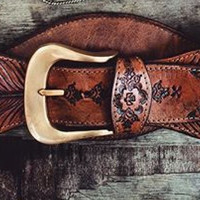 Buffalo Girl Tooled Feather Belt