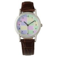 Colored checkers printed designer wristwatch