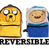Adventure Time Finn Jake LICENSED Backpack School Bag REVERSIBLE!
