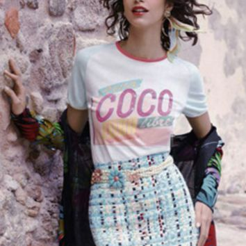 CHANEL COCO Fashion print splicing blouse short sleeved T-shirt