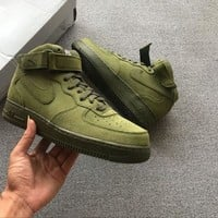 hcxx Nike Air Force 1 07 Mid Olive Green For Women Men Running Sport Casual Shoes Sneakers