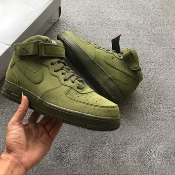 LMFON Nike Air Force 1 Mid Olive Green For Women Men Running Sport Casual Shoes Sneakers