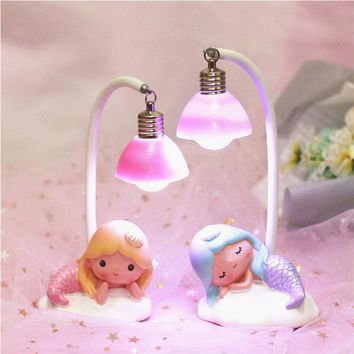 Lovely Mermaid LED Night Light Resin Crafts Home Decoration Ornament Table Lamps Creative Gift For Girl
