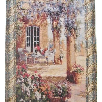 """Quiet Evening Elegant Woven Fabric Baroque Tapestry Wall Hanging - 36"""" X 50"""""""