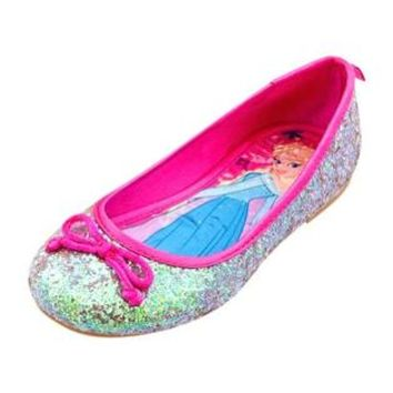 Disney Store Frozen Princess Anna and Elsa Ballet Flats Kids Girls Shoe Size 7 Silver Glitter Costume Shoes Slippers