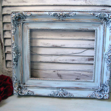 Light Blue Painted Vintage Ornate Frame, Shabby Chic Open Frame, Nursery Decor, Frame Gallery, Up Cycled Wooden Frame, Beach Cottage Decor
