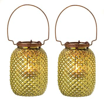 Set of 2 Small Diamond Candle Lanterns