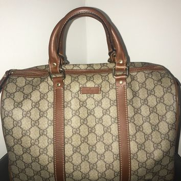 Gucci joy boston bag interlocking Gg with brown leather trim guccissima