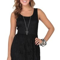 lace skater dress with criss cross back and elastic waist