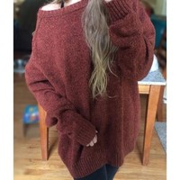 Red Round Neck Long Sleeve Oversized Casual Pullover Sweater