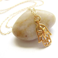 Gold Hamsa Necklace, Floral Hand of Fatima, Bohemian Necklace