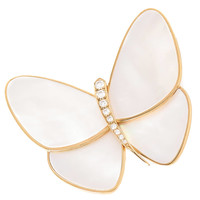 Van Cleef & Arpels Large Mother of Pearl Diamond Gold Butterfly Brooch