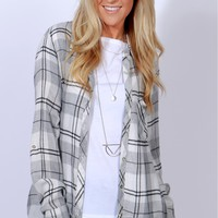 Perfect In Plaid Top Grey