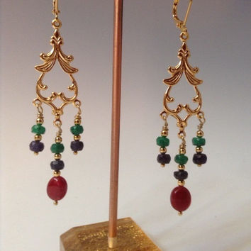 India Gems, earrings, gold chandelier earrings, Sapphire, Emeralds, Rubies, gemstone earrings,
