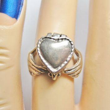 Vintage Claddagh Poison Ring 925 Sterling Size 6