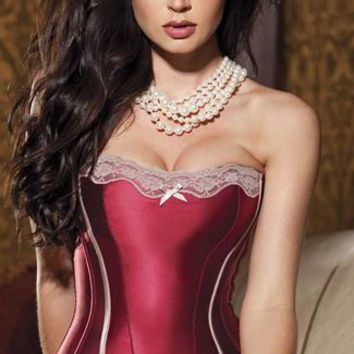 Red Strapless Floral Lace Patch Corset