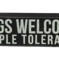"""Dogs Welcome""... Hanging or Standing Décor Wood Box Sign for the Home Bar - Office - Desk, Wall or Tabletop Display. 10"" x 3""."