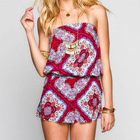 Socialite Boho Print Womens Romper Multi  In Sizes